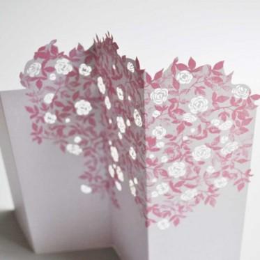 Porigami Grußkarte Rose pink